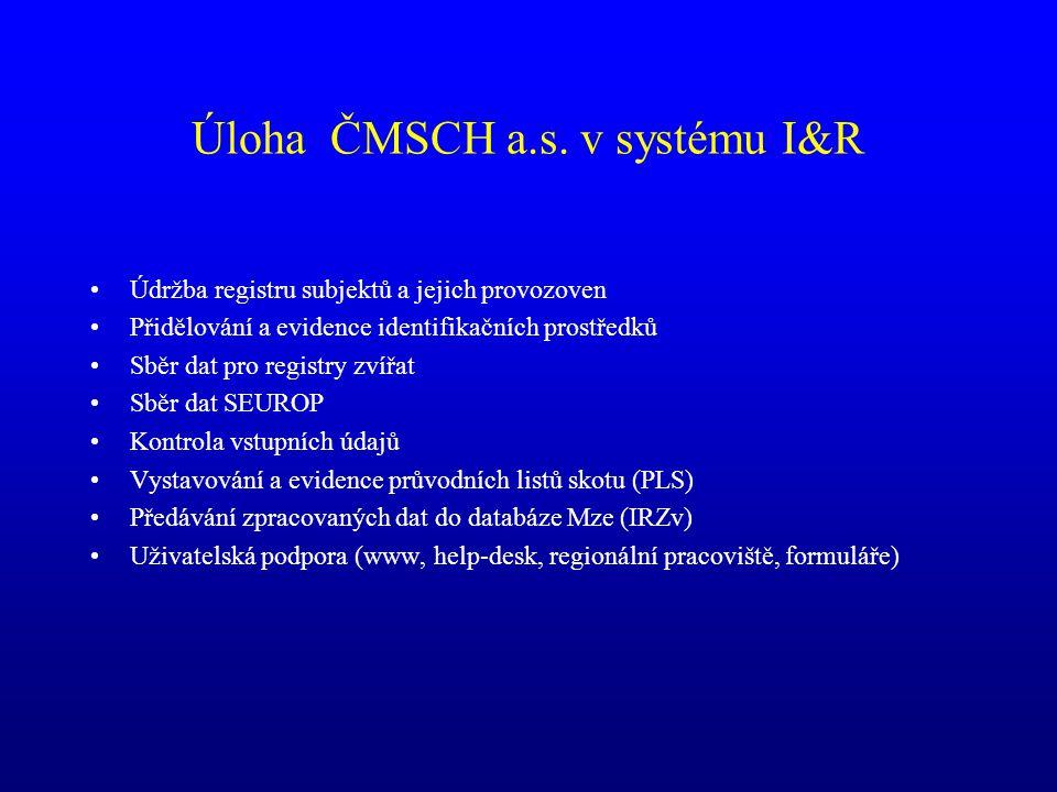 Úloha ČMSCH a.s. v systému I&R •Údržba registru subjektů a jejich provozoven •Přidělování a evidence identifikačních prostředků •Sběr dat pro registry