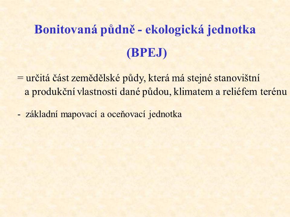 Bonitovaná půdně - ekologická jednotka (BPEJ) = určitá část zemědělské půdy, která má stejné stanovištní a produkční vlastnosti dané půdou, klimatem a