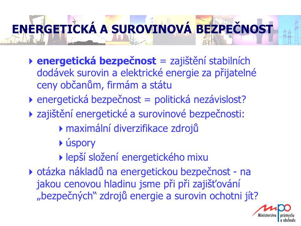  dosáhnout surovinové soběstačnosti České republiky je iluzorní cíl  energetická a surovinová bezpečnost je možná  obavy nejsou na místě  je nutné rozvíjet zdroje, které máme a které umíme  energetické saldo České republiky: – 671 772 TJ  energetickým potřebám se bude věnovat tzv.