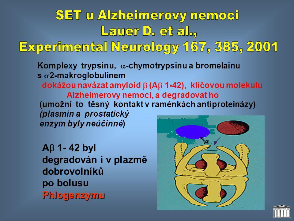 Komplexy trypsinu,  -chymotrypsinu a bromelainu s  2-makroglobulinem dokážou navázat amyloid  (A  1-42), klíčovou molekulu Alzheimerovy nemoci, a