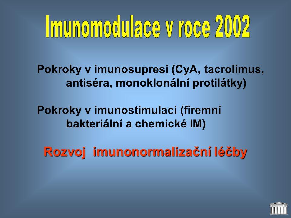 Pokroky v imunosupresi (CyA, tacrolimus, antiséra, monoklonální protilátky) Pokroky v imunostimulaci (firemní bakteriální a chemické IM) Rozvoj imunon