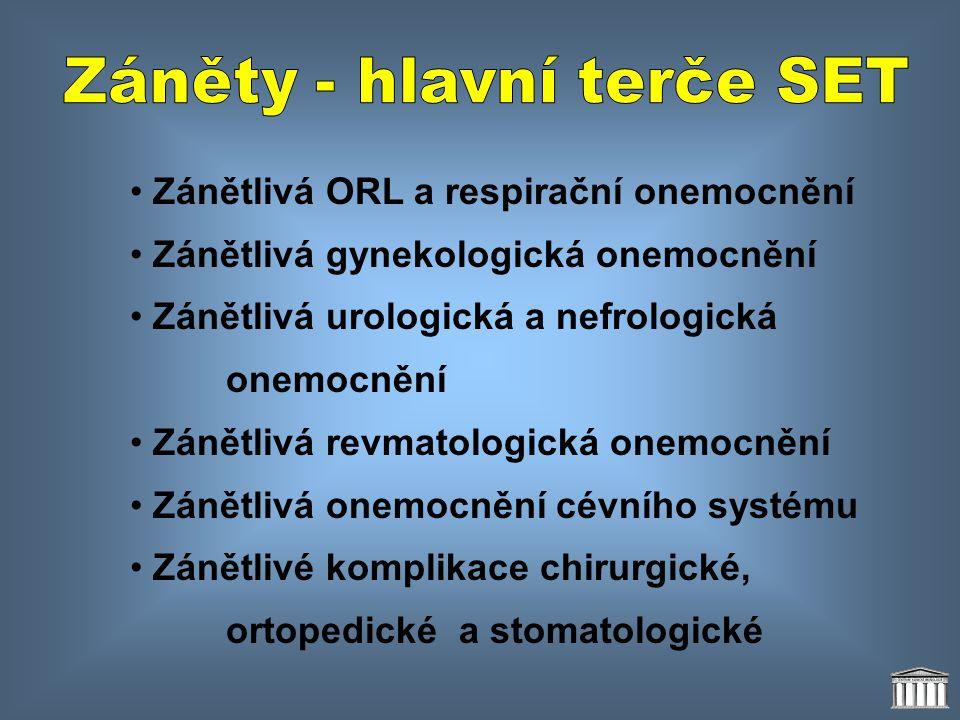 • Zánětlivá ORL a respirační onemocnění • Zánětlivá gynekologická onemocnění • Zánětlivá urologická a nefrologická onemocnění • Zánětlivá revmatologic