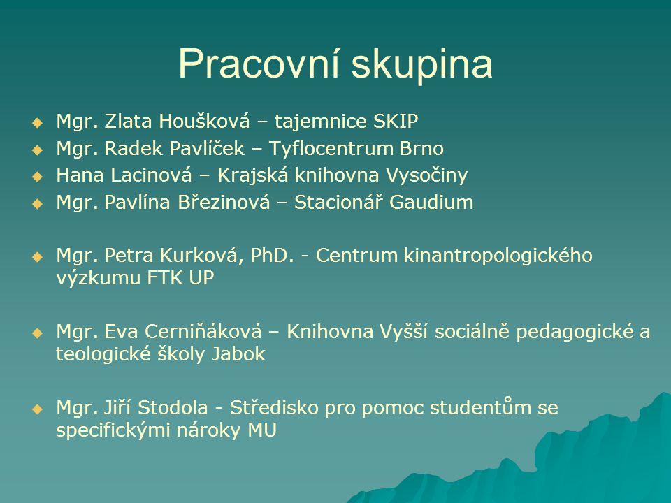 Pracovní skupina   Mgr.Zlata Houšková – tajemnice SKIP   Mgr.