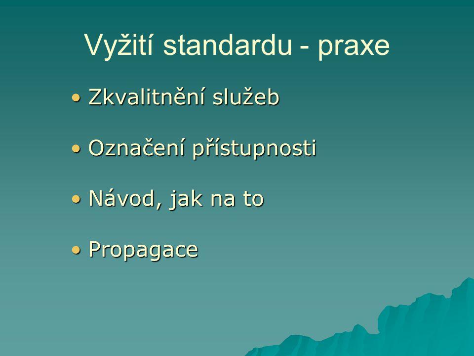 Vyžití standardu - praxe •Zkvalitnění služeb •Označení přístupnosti •Návod, jak na to •Propagace