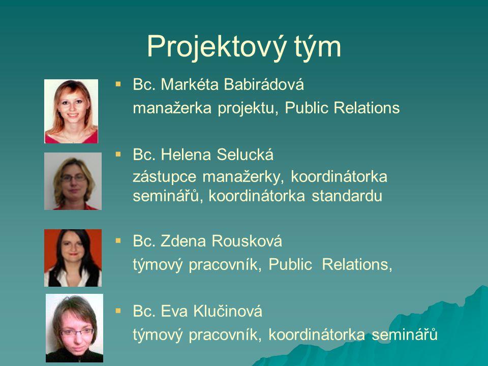 Projektový tým   Bc.Markéta Babirádová manažerka projektu, Public Relations   Bc.