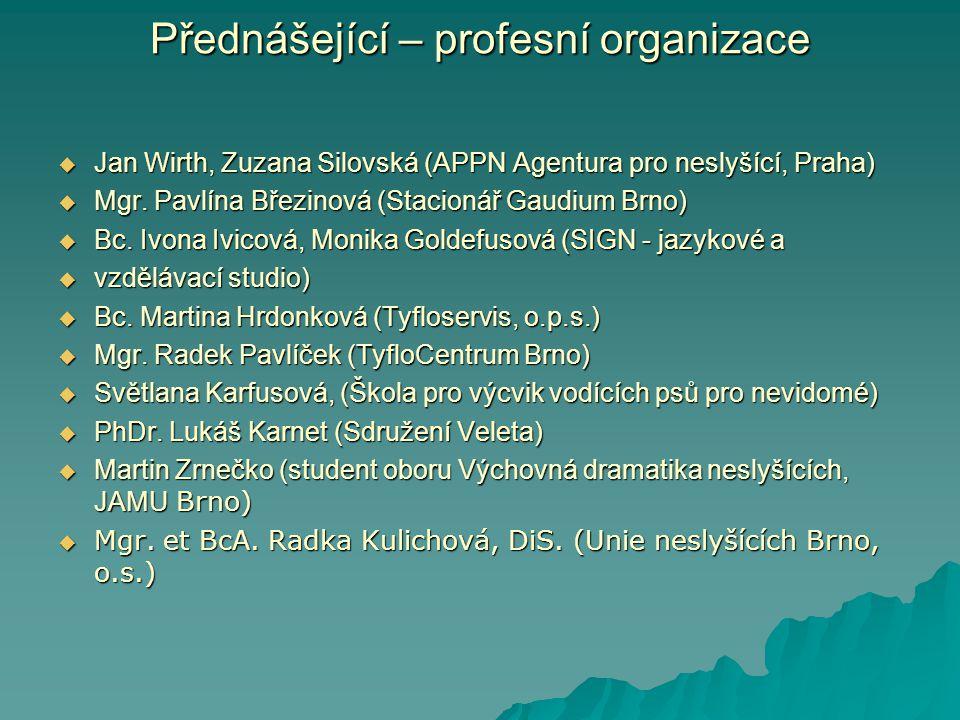 Přednášející – profesní organizace  Jan Wirth, Zuzana Silovská (APPN Agentura pro neslyšící, Praha)  Mgr.
