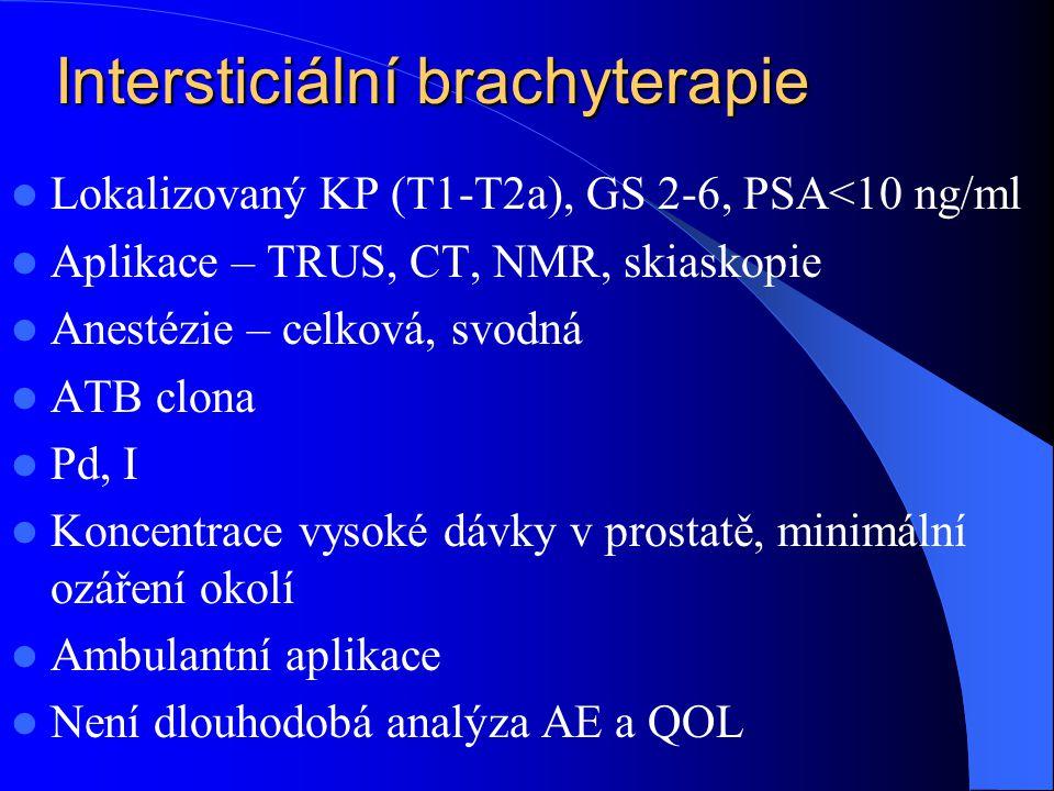 Intersticiální brachyterapie  Lokalizovaný KP (T1-T2a), GS 2-6, PSA<10 ng/ml  Aplikace – TRUS, CT, NMR, skiaskopie  Anestézie – celková, svodná  ATB clona  Pd, I  Koncentrace vysoké dávky v prostatě, minimální ozáření okolí  Ambulantní aplikace  Není dlouhodobá analýza AE a QOL