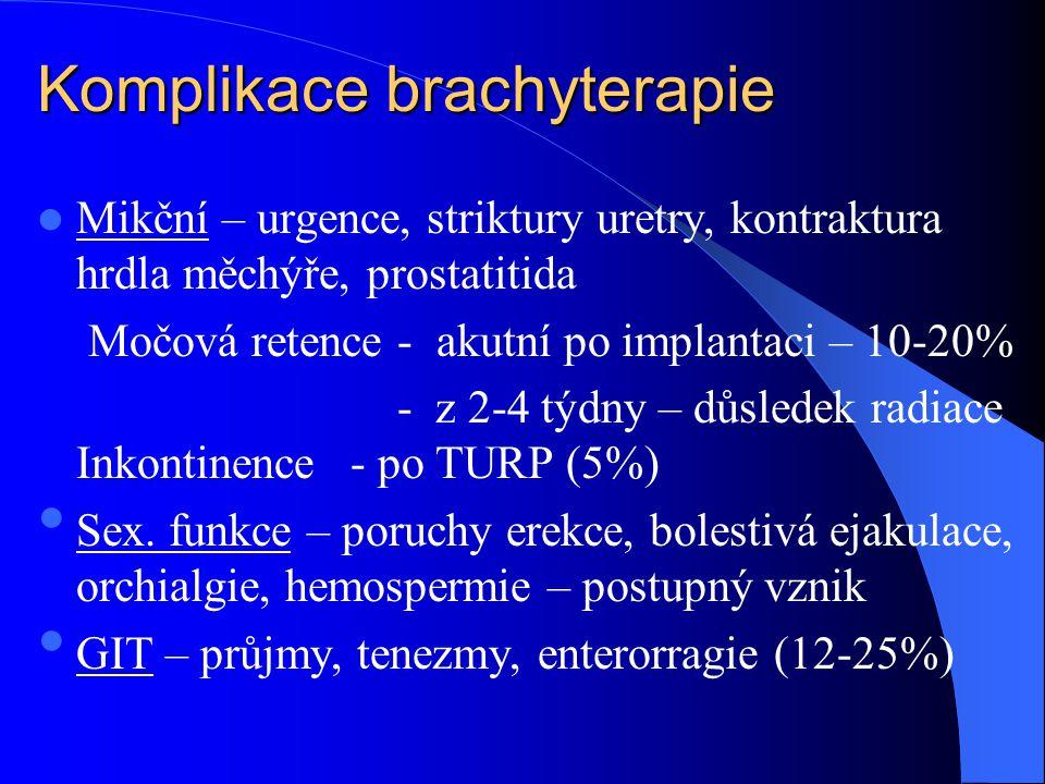 Komplikace brachyterapie  Mikční – urgence, striktury uretry, kontraktura hrdla měchýře, prostatitida Močová retence - akutní po implantaci – 10-20% - z 2-4 týdny – důsledek radiace Inkontinence- po TURP (5%) • Sex.