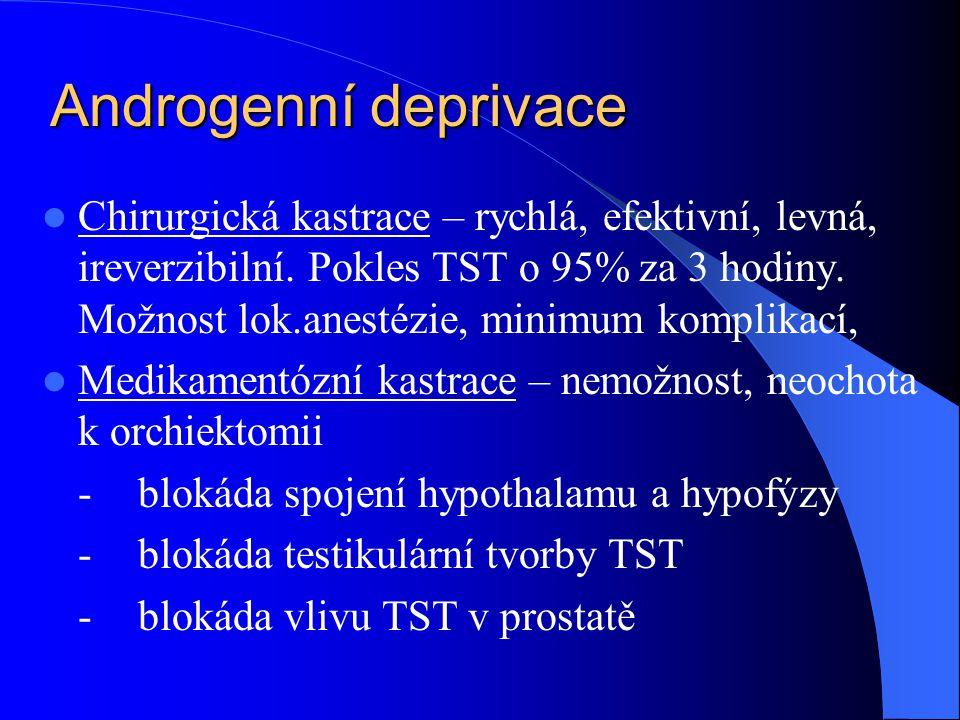 Androgenní deprivace  Chirurgická kastrace – rychlá, efektivní, levná, ireverzibilní. Pokles TST o 95% za 3 hodiny. Možnost lok.anestézie, minimum ko
