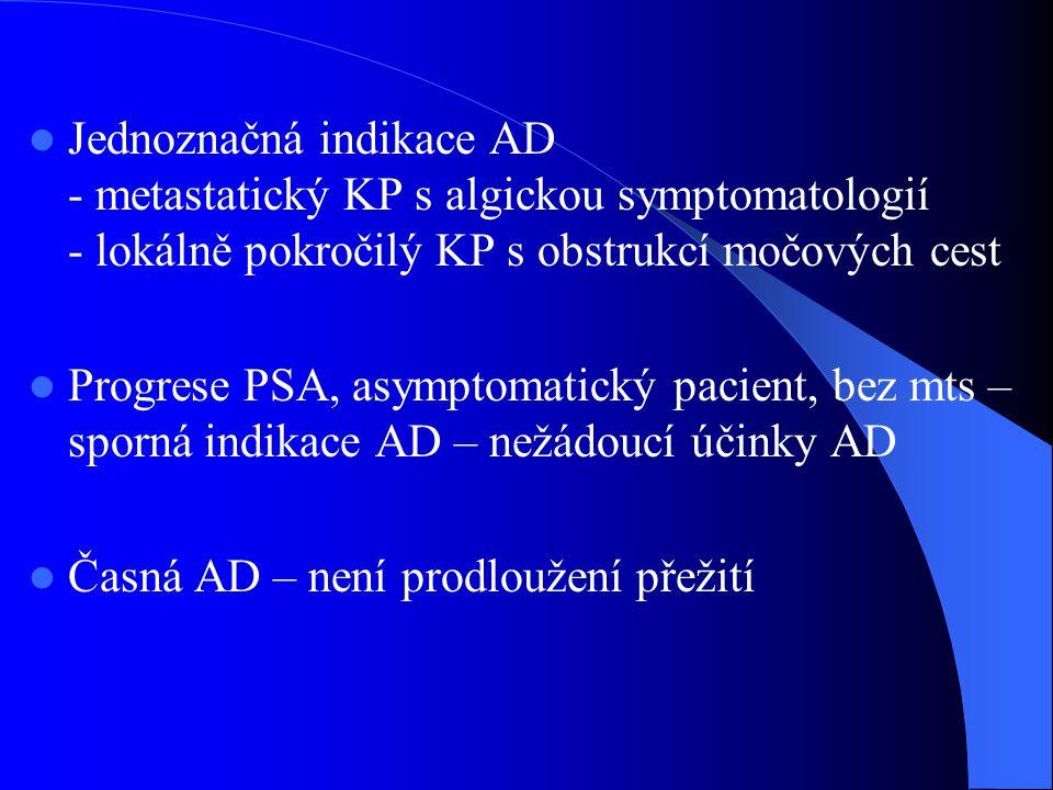  Jednoznačná indikace AD - metastatický KP s algickou symptomatologií - lokálně pokročilý KP s obstrukcí močových cest  Progrese PSA, asymptomatický pacient, bez mts – sporná indikace AD – nežádoucí účinky AD  Časná AD – není prodloužení přežití