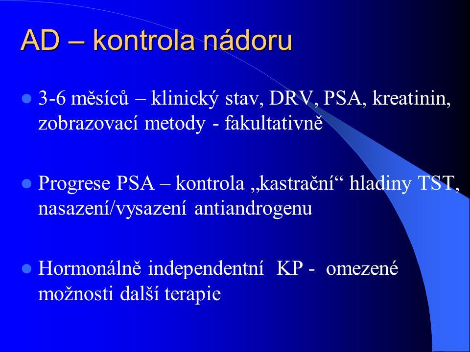 """AD – kontrola nádoru  3-6 měsíců – klinický stav, DRV, PSA, kreatinin, zobrazovací metody - fakultativně  Progrese PSA – kontrola """"kastrační hladiny TST, nasazení/vysazení antiandrogenu  Hormonálně independentní KP - omezené možnosti další terapie"""