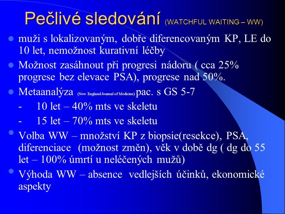 Pečlivé sledování (WATCHFUL WAITING – WW)  muži s lokalizovaným, dobře diferencovaným KP, LE do 10 let, nemožnost kurativní léčby  Možnost zasáhnout při progresi nádoru ( cca 25% progrese bez elevace PSA), progrese nad 50%.