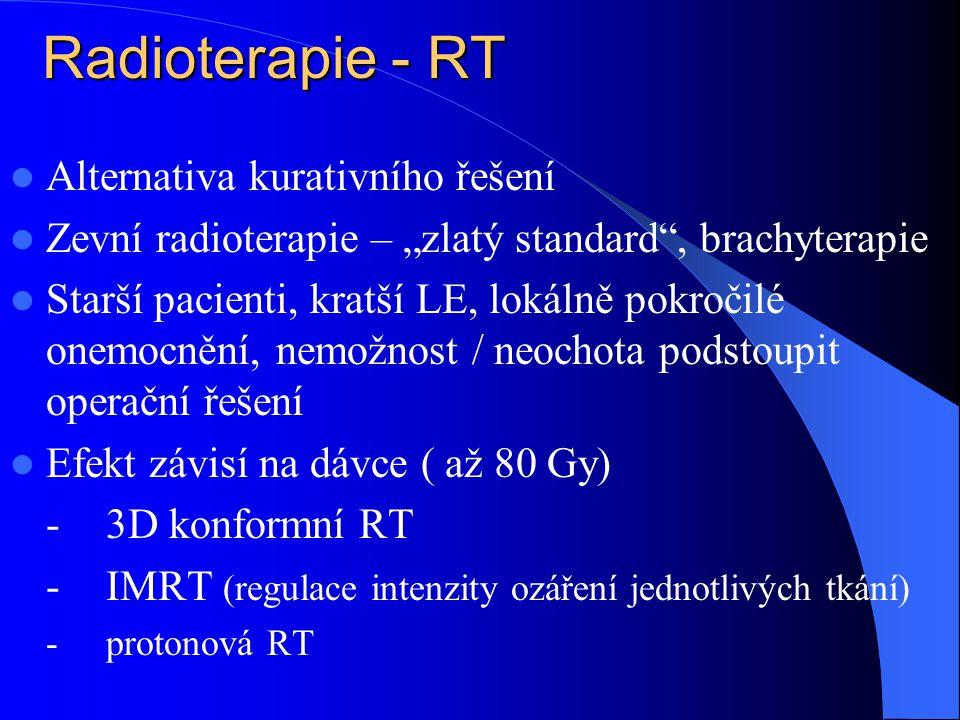"""Radioterapie - RT  Alternativa kurativního řešení  Zevní radioterapie – """"zlatý standard , brachyterapie  Starší pacienti, kratší LE, lokálně pokročilé onemocnění, nemožnost / neochota podstoupit operační řešení  Efekt závisí na dávce ( až 80 Gy) -3D konformní RT -IMRT (regulace intenzity ozáření jednotlivých tkání) -protonová RT"""