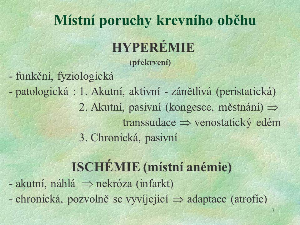 3 Místní poruchy krevního oběhu HYPERÉMIE (překrvení) - funkční, fyziologická - patologická : 1. Akutní, aktivní - zánětlivá (peristatická) 2. Akutní,