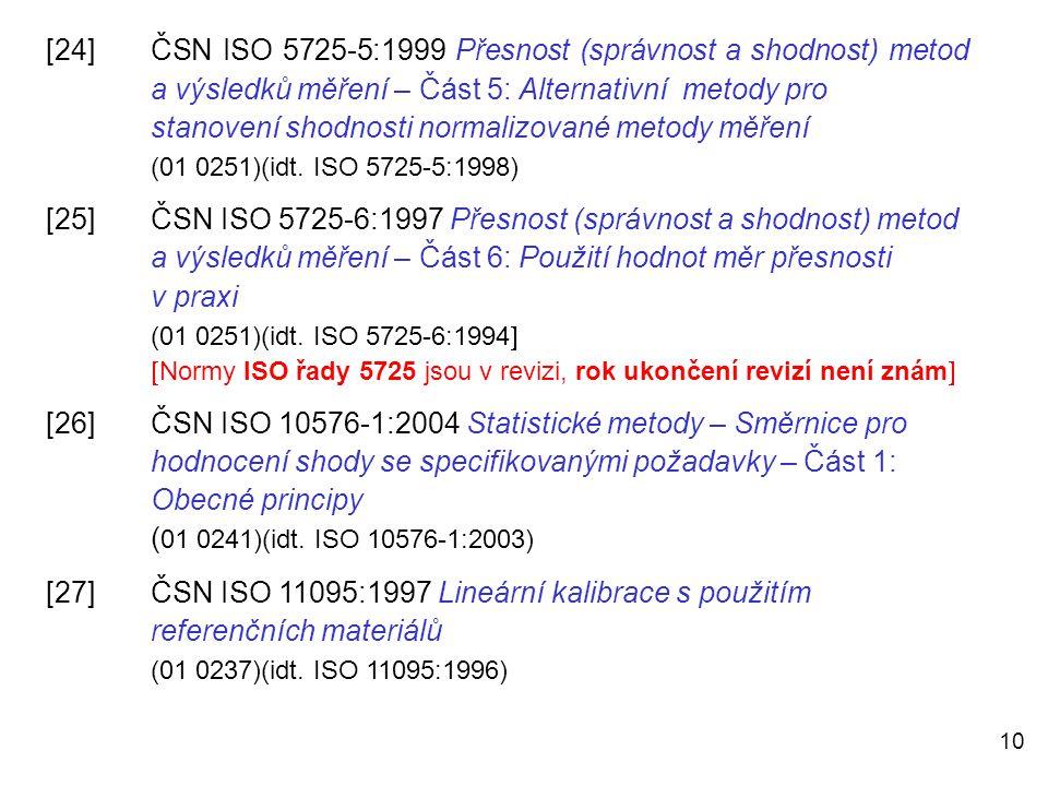 10 [24]ČSN ISO 5725-5:1999 Přesnost (správnost a shodnost) metod a výsledků měření – Část 5: Alternativní metody pro stanovení shodnosti normalizované
