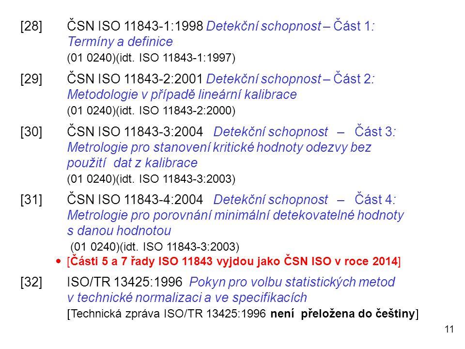 11 [28]ČSN ISO 11843-1:1998 Detekční schopnost – Část 1: Termíny a definice (01 0240)(idt. ISO 11843-1:1997) [29]ČSN ISO 11843-2:2001 Detekční schopno