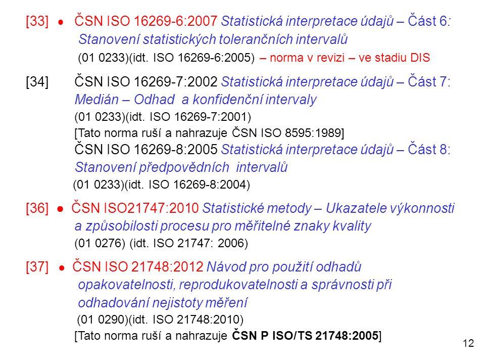 12 [33]  ČSN ISO 16269-6:2007 Statistická interpretace údajů – Část 6: Stanovení statistických tolerančních intervalů (01 0233)(idt. ISO 16269-6:2005