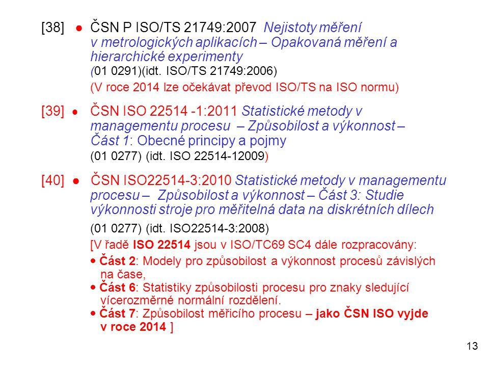 13 [38] ●ČSN P ISO/TS 21749:2007 Nejistoty měření v metrologických aplikacích – Opakovaná měření a hierarchické experimenty (01 0291)(idt. ISO/TS 2174