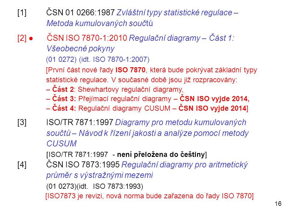 16 [1]ČSN 01 0266:1987 Zvláštní typy statistické regulace – Metoda kumulovaných součtů [2] ● ČSN ISO 7870-1:2010 Regulační diagramy – Část 1: Všeobecn