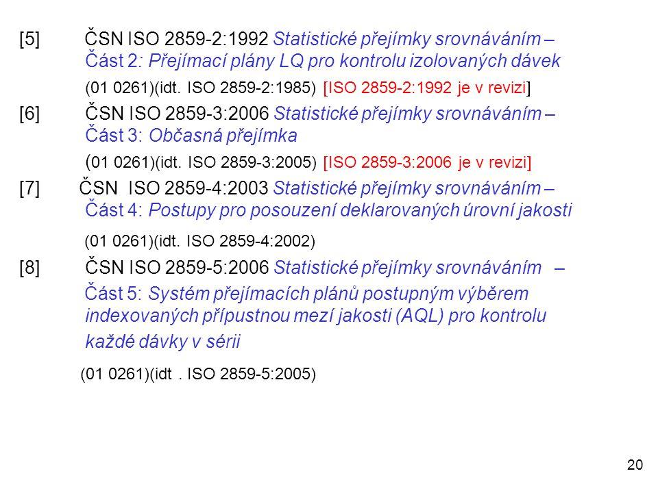 20 [5] ČSN ISO 2859-2:1992 Statistické přejímky srovnáváním – Část 2: Přejímací plány LQ pro kontrolu izolovaných dávek (01 0261)(idt. ISO 2859-2:1985