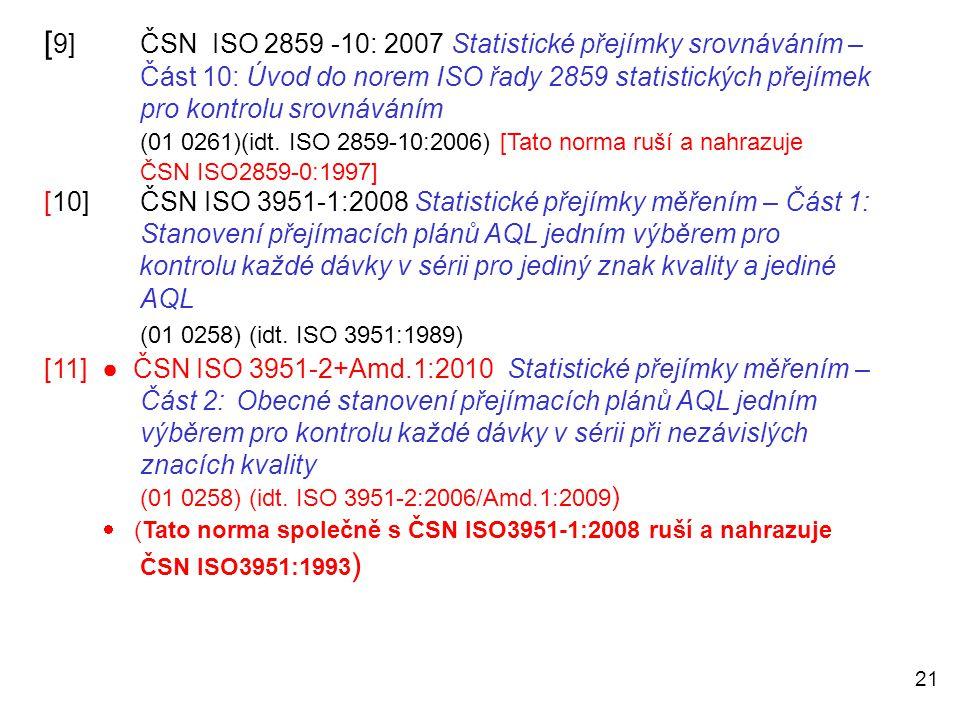 21 [ 9]ČSN ISO 2859 -10: 2007 Statistické přejímky srovnáváním – Část 10: Úvod do norem ISO řady 2859 statistických přejímek pro kontrolu srovnáváním