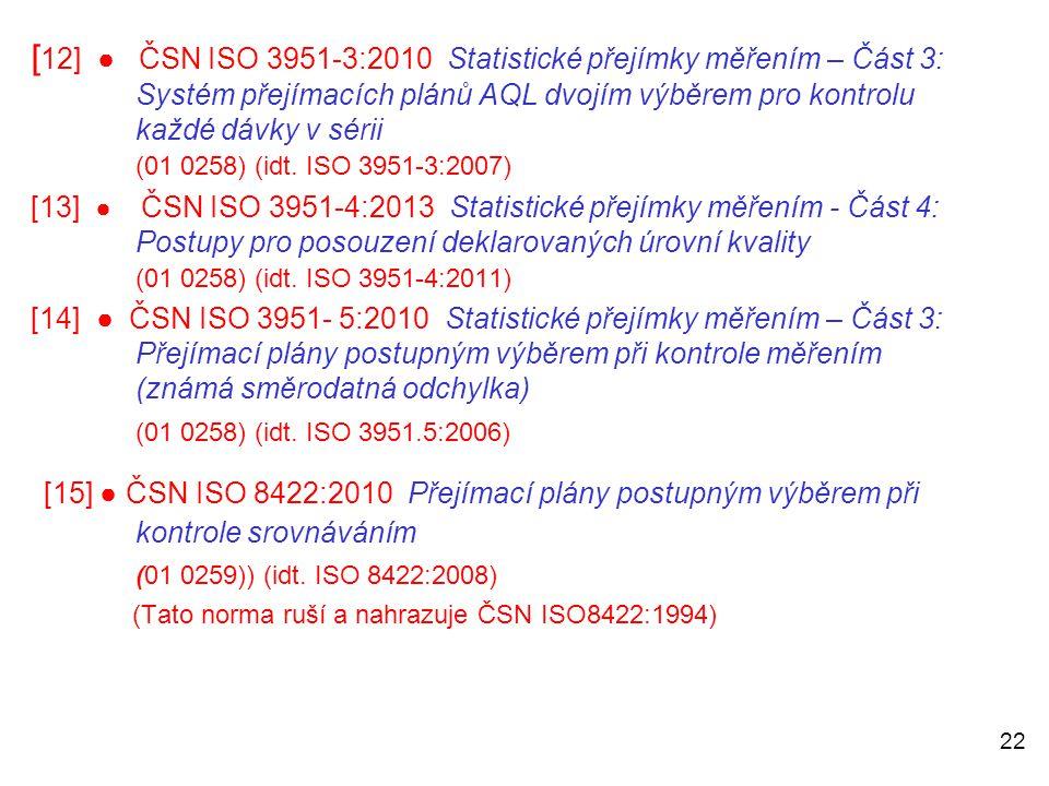 22 [ 12] ● ČSN ISO 3951-3:2010 Statistické přejímky měřením – Část 3: Systém přejímacích plánů AQL dvojím výběrem pro kontrolu každé dávky v sérii (01