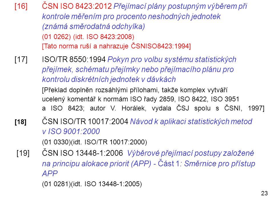 23 [16]ČSN ISO 8423:2012 Přejímací plány postupným výběrem při kontrole měřením pro procento neshodných jednotek (známá směrodatná odchylka) (01 0262)