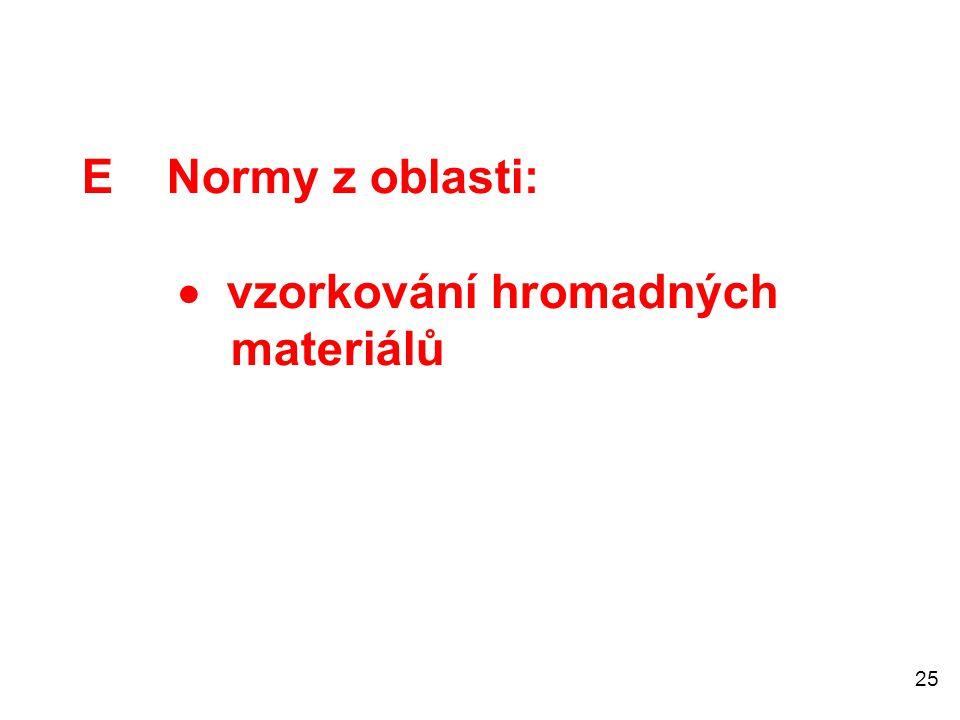 25 E Normy z oblasti:  vzorkování hromadných materiálů