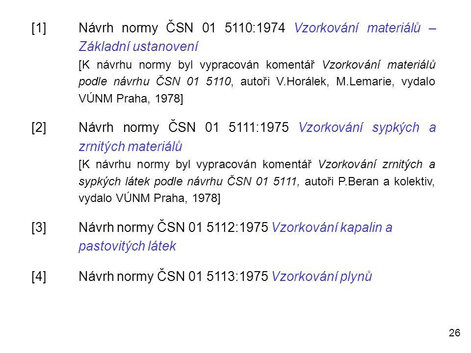 26 [1]Návrh normy ČSN 01 5110:1974 Vzorkování materiálů – Základní ustanovení [K návrhu normy byl vypracován komentář Vzorkování materiálů podle návrh