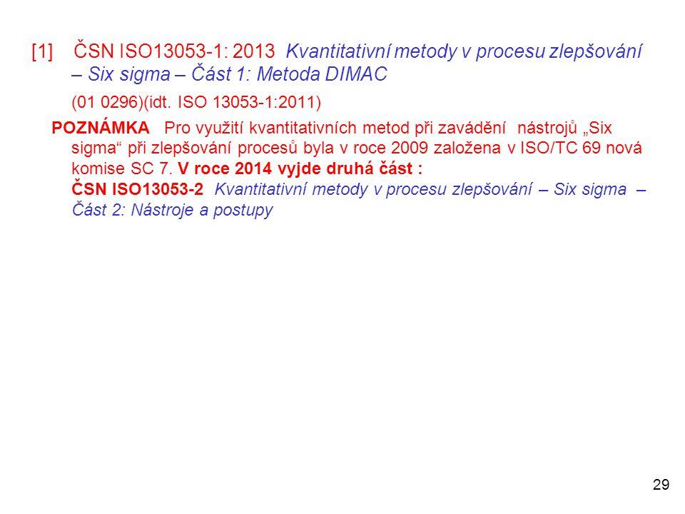 29 [1] ČSN ISO13053-1: 2013 Kvantitativní metody v procesu zlepšování – Six sigma – Část 1: Metoda DIMAC (01 0296)(idt. ISO 13053-1:2011)  POZNÁMKA P