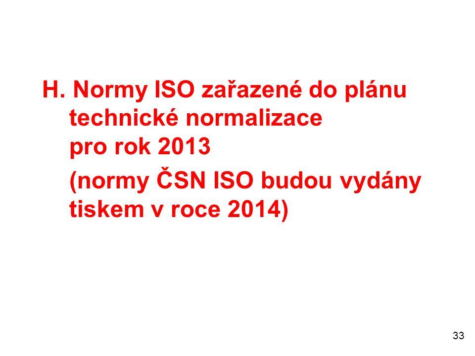 33 H. Normy ISO zařazené do plánu technické normalizace pro rok 2013 (normy ČSN ISO budou vydány tiskem v roce 2014)