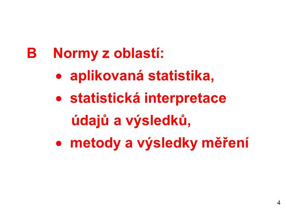 4 B Normy z oblastí:  aplikovaná statistika,  statistická interpretace údajů a výsledků,  metody a výsledky měření