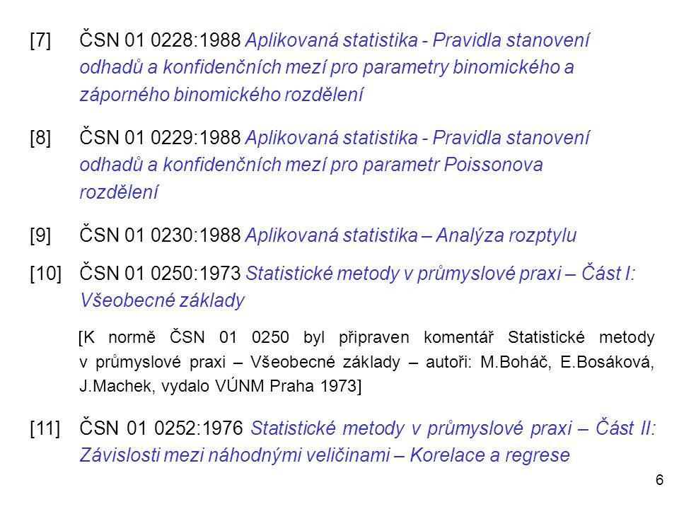6 [7]ČSN 01 0228:1988 Aplikovaná statistika - Pravidla stanovení odhadů a konfidenčních mezí pro parametry binomického a záporného binomického rozděle