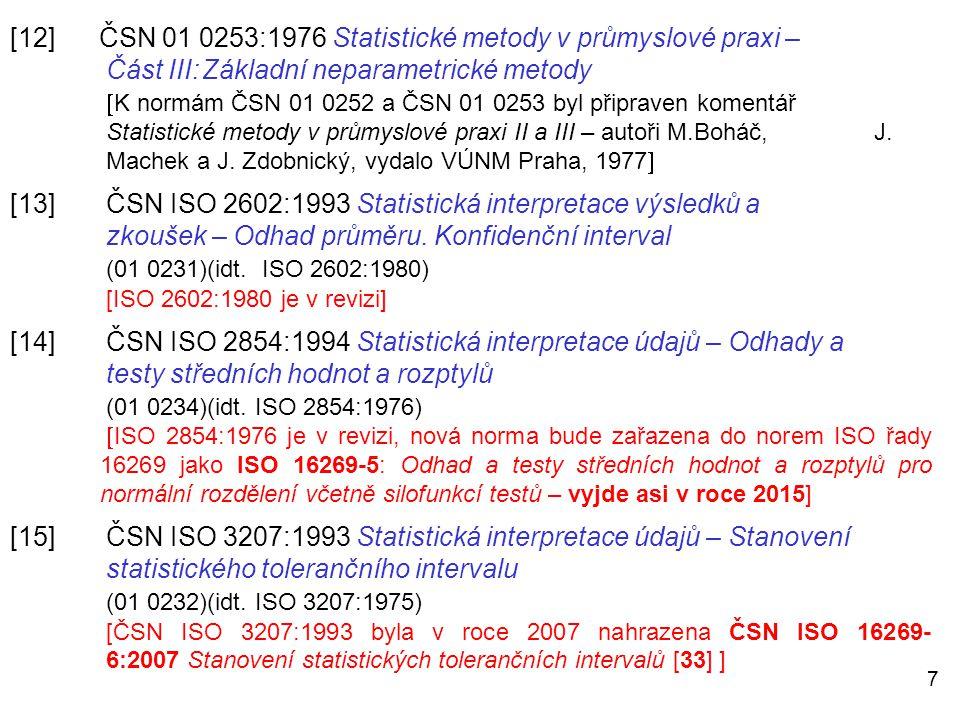 7 [12] ČSN 01 0253:1976 Statistické metody v průmyslové praxi – Část III:Základní neparametrické metody  K normám ČSN 01 0252 a ČSN 01 0253 byl připr