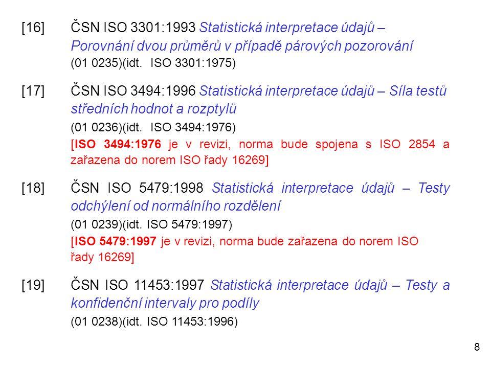 8 [16]ČSN ISO 3301:1993 Statistická interpretace údajů – Porovnání dvou průměrů v případě párových pozorování (01 0235)(idt. ISO 3301:1975) [17]ČSN IS