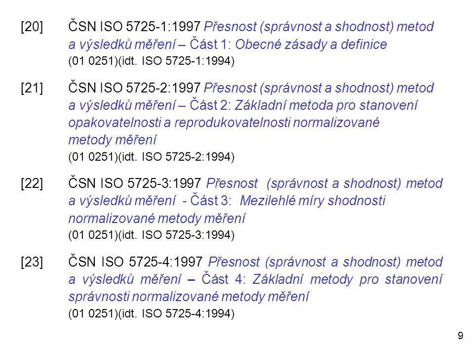 9 [20]ČSN ISO 5725-1:1997 Přesnost (správnost a shodnost) metod a výsledků měření – Část 1: Obecné zásady a definice (01 0251)(idt. ISO 5725-1:1994) [