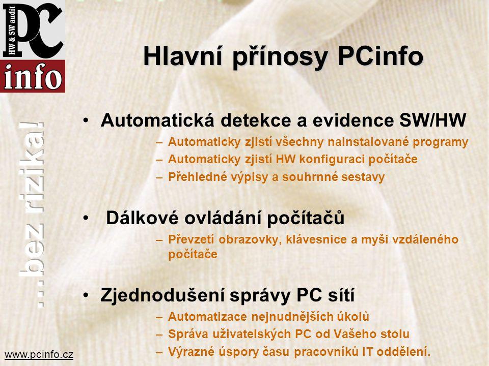 www.pcinfo.cz Hlavní přínosy PCinfo •Automatická detekce a evidence SW/HW –Automaticky zjistí všechny nainstalované programy –Automaticky zjistí HW ko
