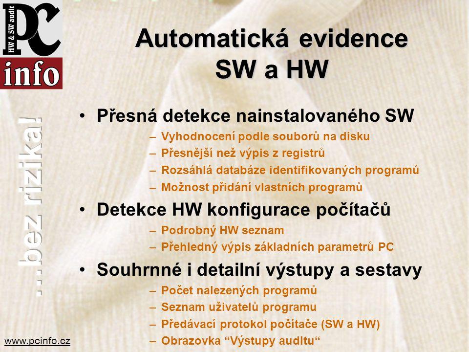 www.pcinfo.cz Automatická evidence SW a HW •Přesná detekce nainstalovaného SW –Vyhodnocení podle souborů na disku –Přesnější než výpis z registrů –Roz