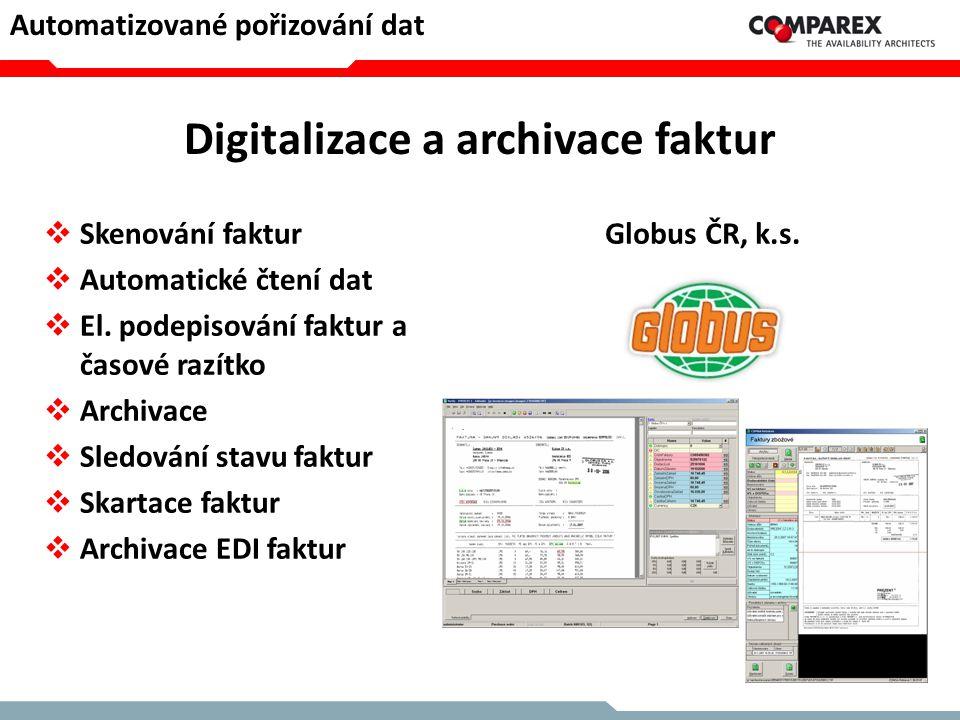 Digitalizace a archivace faktur  Skenování faktur  Automatické čtení dat  El. podepisování faktur a časové razítko  Archivace  Sledování stavu fa