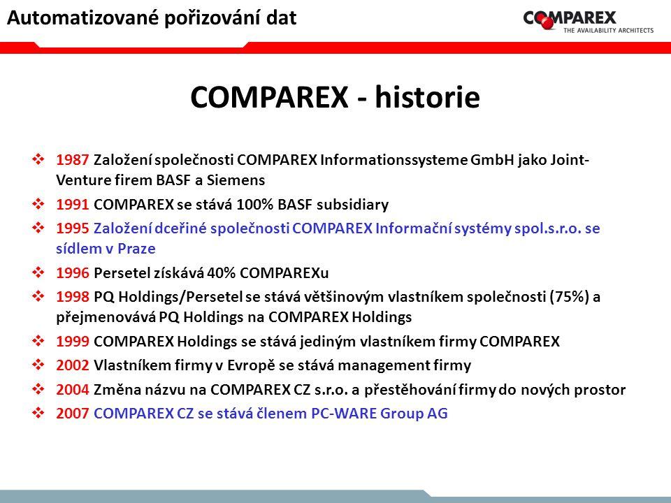 COMPAREX - historie  1987 Založení společnosti COMPAREX Informationssysteme GmbH jako Joint- Venture firem BASF a Siemens  1991 COMPAREX se stává 10