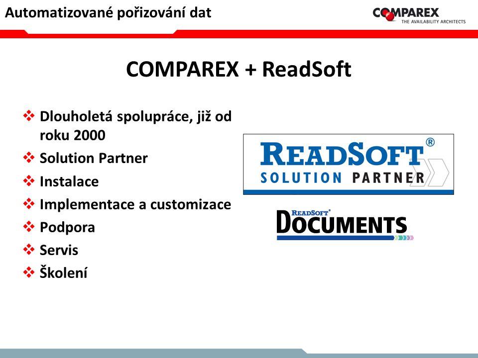 COMPAREX + ReadSoft  Dlouholetá spolupráce, již od roku 2000  Solution Partner  Instalace  Implementace a customizace  Podpora  Servis  Školení