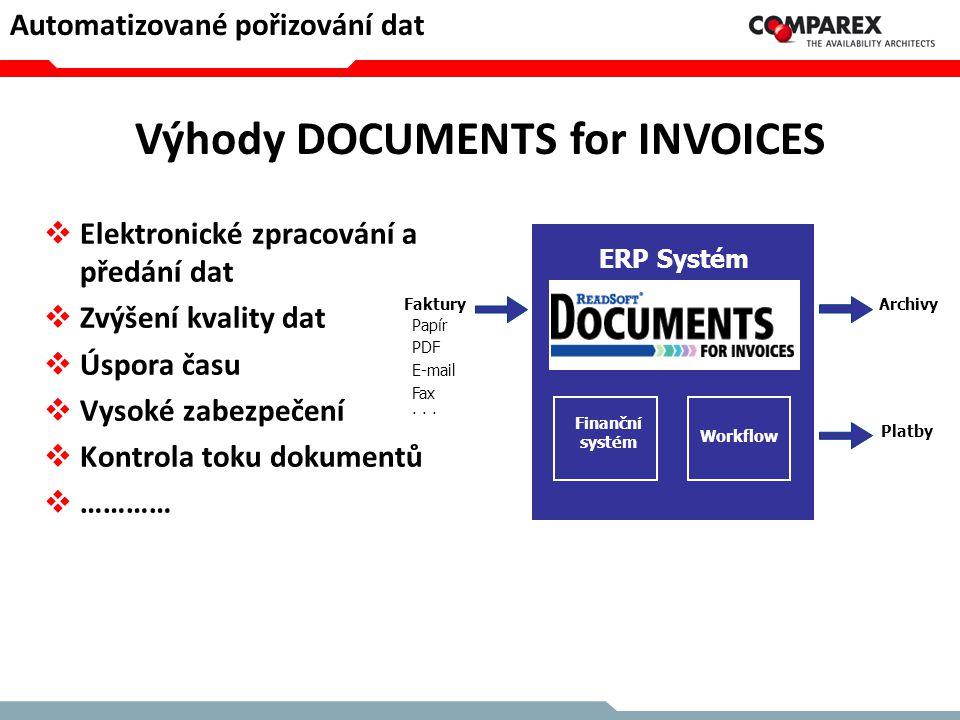 Vlastnosti systémů DOCUMENTS  Rychlost a zabezpečení  Flexibilita a otevřenost  Snadné používání  Přímá integrace s ERP systémy  Škálovatelnost  Monitorování, kontrola a statistiky  ……………… Automatizované pořizování dat