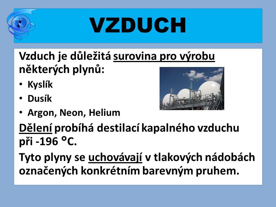 VZDUCH Vzduch je důležitá surovina pro výrobu některých plynů: • Kyslík • Dusík • Argon, Neon, Helium Dělení probíhá destilací kapalného vzduchu při -196 °C.
