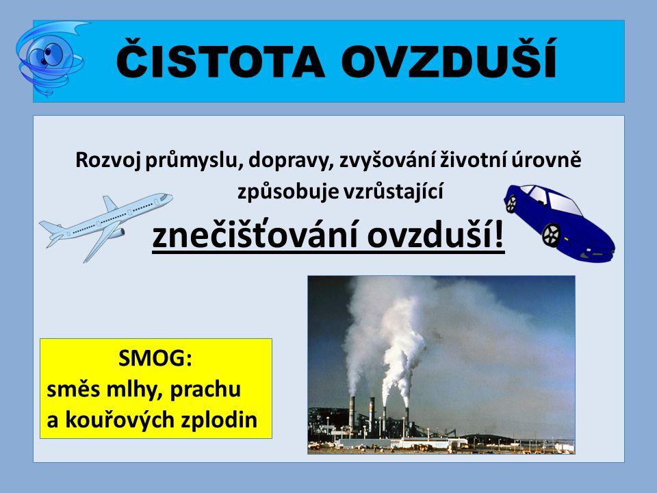 ČISTOTA OVZDUŠÍ Rozvoj průmyslu, dopravy, zvyšování životní úrovně způsobuje vzrůstající znečišťování ovzduší! SMOG: směs mlhy, prachu a kouřových zpl