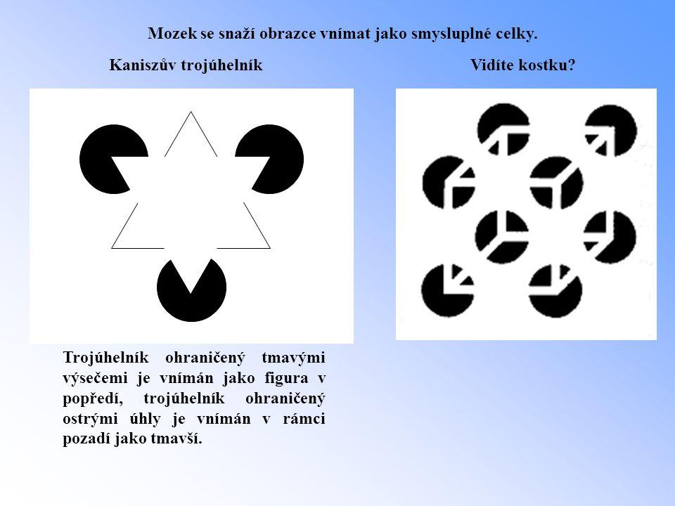 Kaniszův trojúhelník Trojúhelník ohraničený tmavými výsečemi je vnímán jako figura v popředí, trojúhelník ohraničený ostrými úhly je vnímán v rámci po
