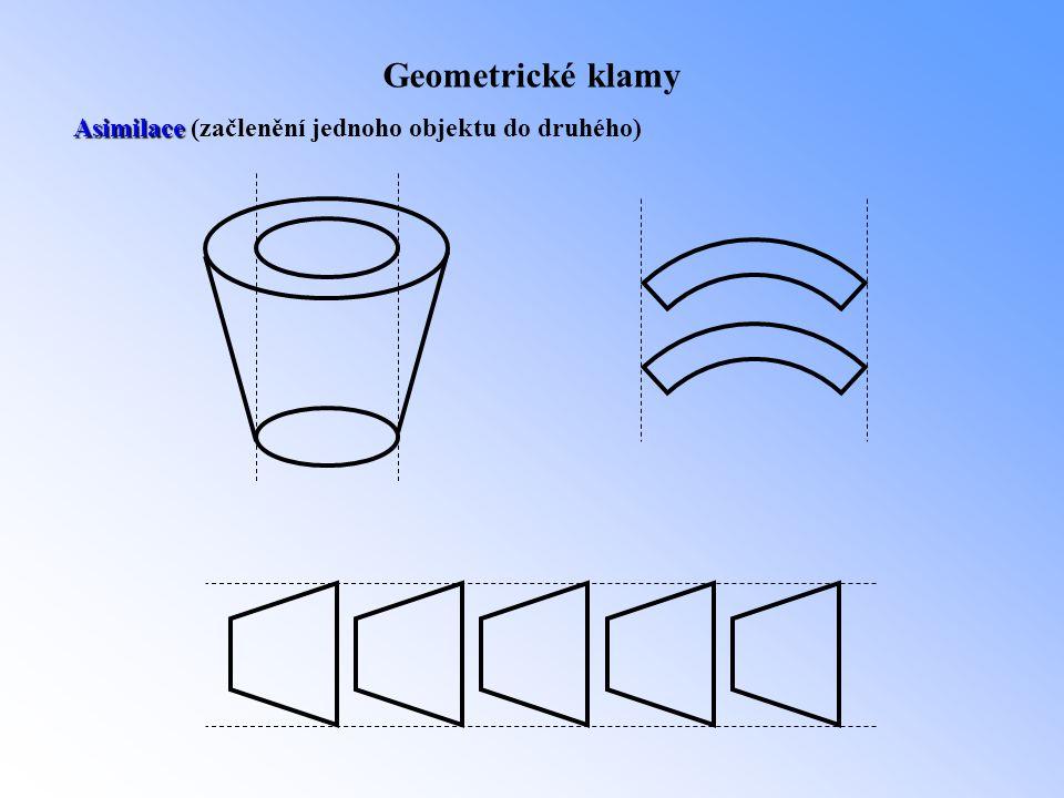 Geometrické klamy Asimilace Asimilace (začlenění jednoho objektu do druhého)