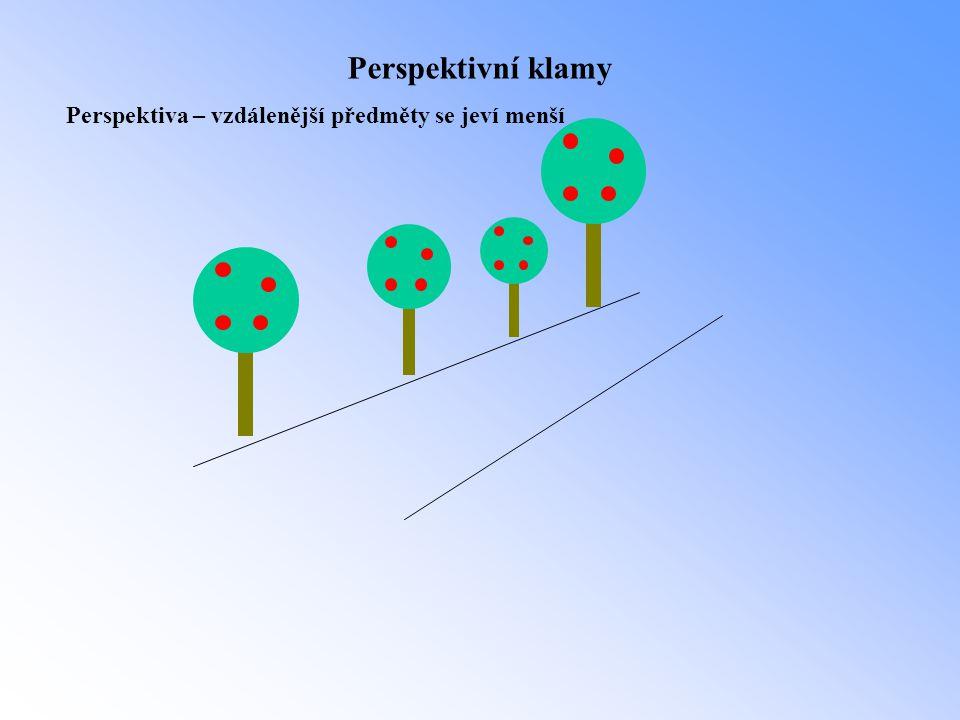 Perspektivní klamy Perspektiva – vzdálenější předměty se jeví menší