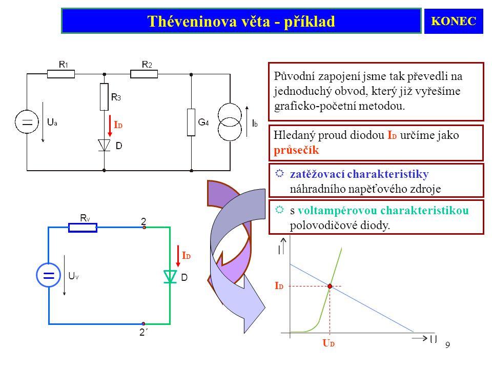 9 Hledaný proud diodou I D určíme jako průsečík Původní zapojení jsme tak převedli na jednoduchý obvod, který již vyřešíme graficko-početní metodou. U