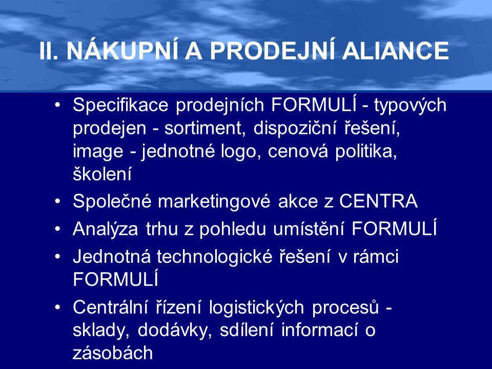 II. NÁKUPNÍ A PRODEJNÍ ALIANCE •Specifikace prodejních FORMULÍ - typových prodejen - sortiment, dispoziční řešení, image - jednotné logo, cenová polit
