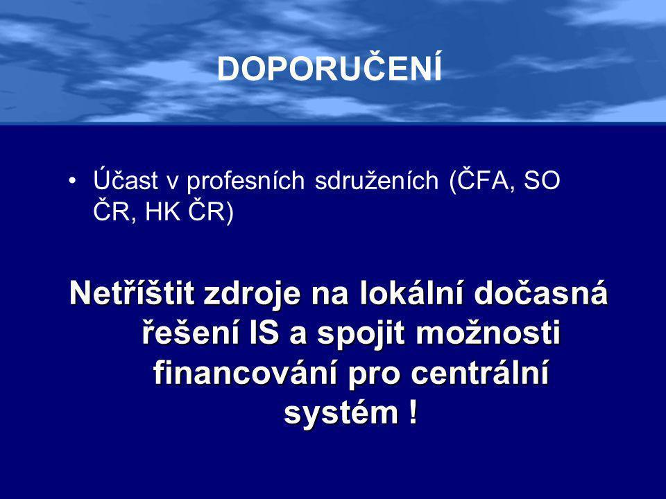 DOPORUČENÍ •Účast v profesních sdruženích (ČFA, SO ČR, HK ČR) Netříštit zdroje na lokální dočasná řešení IS a spojit možnosti financování pro centrální systém !
